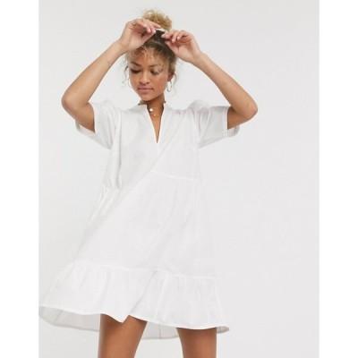 エイソス ASOS DESIGN レディース ワンピース ティアードドレス ワンピース・ドレス cotton tiered mini smock dress in white ホワイト