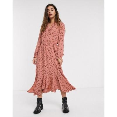 オアシス レディース ワンピース トップス Oasis polka dot midi shirt dress in pink