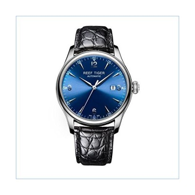 Reef Tiger Dress Watches for Men Steel Alligator Strap Analog Watches with Date RGA823 (RGA823-YLA)並行輸入品