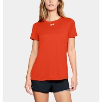 アンダーアーマー レディース Tシャツ Under Armour UA Locker T-Shirt 半袖 Dark Orange/White