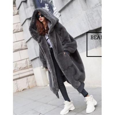 海外セレブ人気商品 おしゃれ 韓国ファッション 大人気 早い者勝ち オシャレ 厚手  ロングセクション フード付き ファー・毛皮 コート