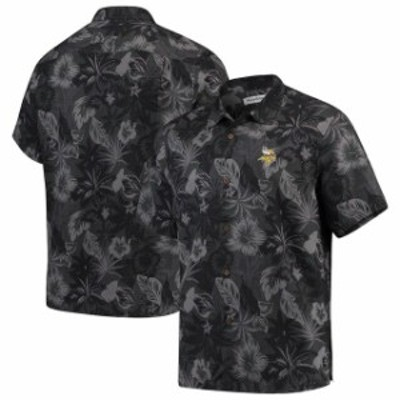 Tommy Bahama トミー バハマ スポーツ用品  Tommy Bahama Minnesota Vikings Black Fuego Floral Woven Button-Up Shirt