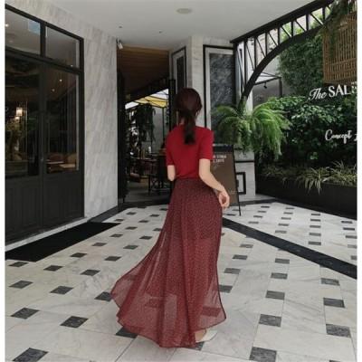 限定発売 高品質で 花柄 シフォン セクシー スプリットフォーク ミディアムロング スカート
