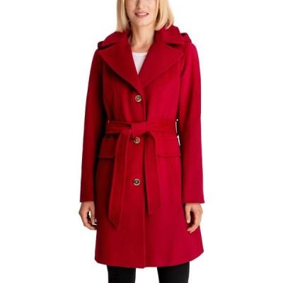 マイケル コース Michael Kors レディース コート アウター Belted Hooded Coat Red
