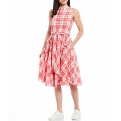 カルバンクライン レディース ワンピース トップス Sleeveless Fit & Flare Plaid Button Front Belted Dress Coral/White