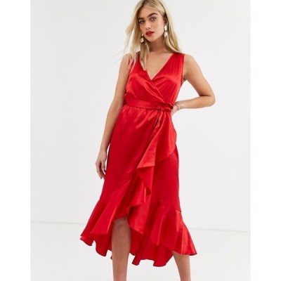 アックスパリ レディース ワンピース トップス AX Paris satin ruffle midi wrap dress in red