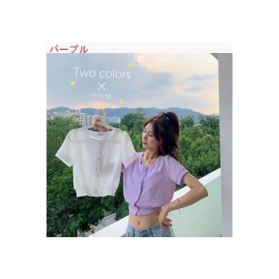 【送料無料】パープル スクエアカラー半袖 シャツ 女 小 個 息子 夏 デザイン 感 | 364331_A63270-2125331