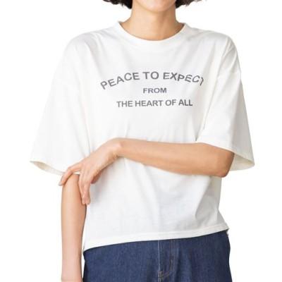 プリントゆったりTシャツ/オフホワイトA/M~L