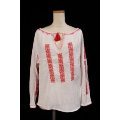 【中古】ロンハーマン Ron Herman ブラウス 16SS 刺繍 綿 XS レッド ホワイト /TK レディース