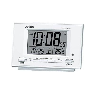 セイコー クロック 目覚まし時計 自動点灯 電波 デジタル カレンダー 温度 表示 夜でも見える 白 パール SQ778W SEIKO (白)