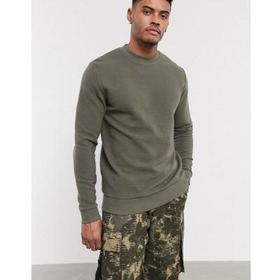 エイソス ASOS DESIGN メンズ スウェット・トレーナー トップス sweatshirt in khaki ribbed fabric カーキ