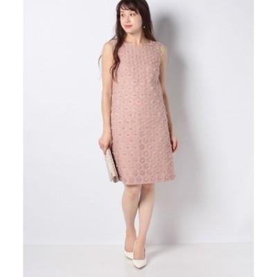 【ミス ジェイ】フラワーカットジャカードドレス