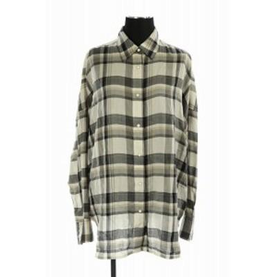 【中古】スピック&スパン Spick&Span 19SS チェックシャツ 長袖 グレー 白 /AO ■OS レディース