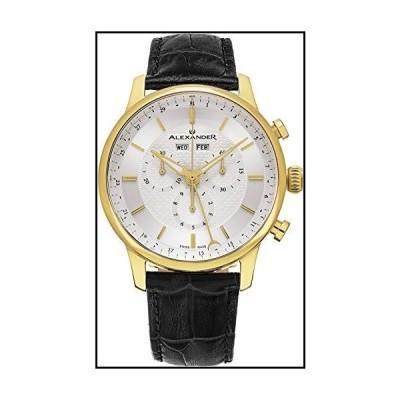 Alexander Statesman Chieftain Wrist Watch for Men???ブラックレザーアナログSwiss Watch???ステンレススチールメッ