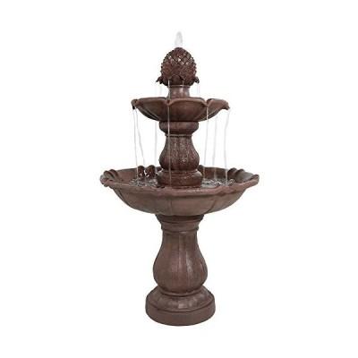 Sunnydaze Curved Plinth Outdoor Water Fountain - 2-Tier Waterfall Fountain & Backyard Water Feature for Garden, Patio, & Backyard【並行