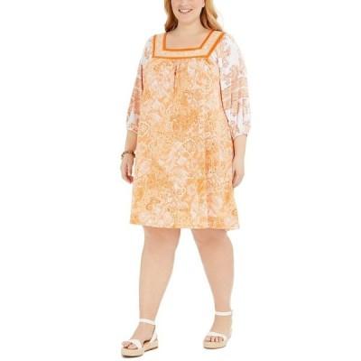 マイケルコース ワンピース トップス レディース Plus Size Paisley Popover Dress Nectarine