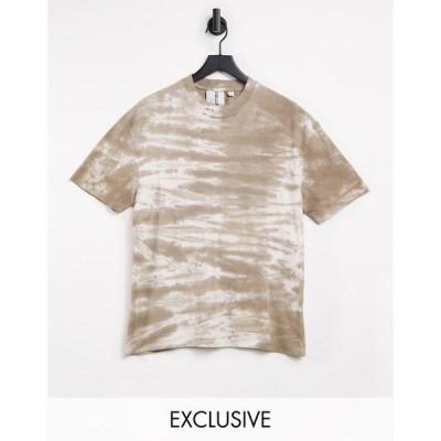 コリュージョン レディース Tシャツ トップス COLLUSION Unisex t-shirt in brown tie-dye Brown