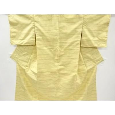 宗sou 横段に抽象模様織り出し十日町紬着物【リサイクル】【着】