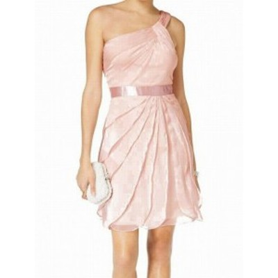 Adrianna Papell アドリアーナ パペル ファッション ドレス Adrianna Papell NEW Pink One-Shoulder Chiffon Tiered 10 Sheath Dress
