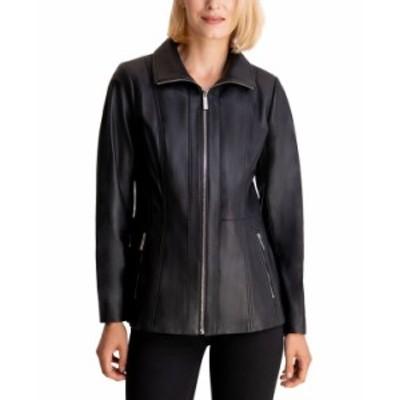マイケルコース レディース コート アウター Leather Jacket Black
