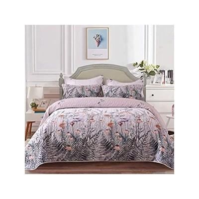 Mefinia 花柄軽量キルトセット 96インチ x 106インチ キルトベッドスプレッド ベッドカバー 花柄プリント 掛け布団 寝具カバー好評販売中
