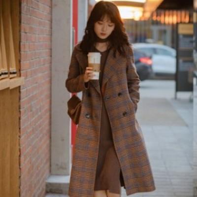 ロングコート チェック アウター ウール ゆったり 大人可愛い ガーリー 秋冬 通勤 お出かけ トレンド レディース ブラウン