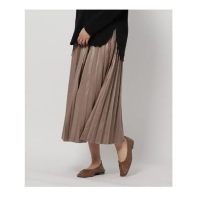 ザ ショップ ティーケー  ウィメンズ THE SHOP TK(Women) レザーライクジャージプリーツスカート/ONSTYLE (アイボリー)