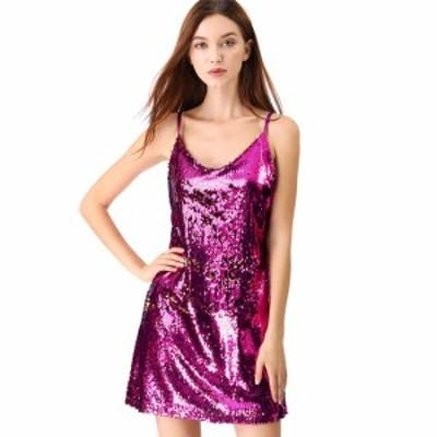 Allegra K ミニドレス ワンピース スパンコール パーティー クラブウェア ダンス 衣装 レディース ピンク XS