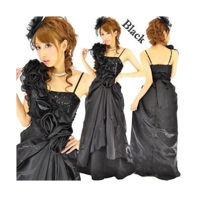 薔薇オーガンジーワンショル風スリムラインロングドレス