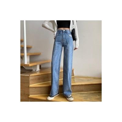 【送料無料】女性のジーンズ 荷重 秋 年 韓国風 ハイウエスト ルース ストレート | 364331_A63691-4929854