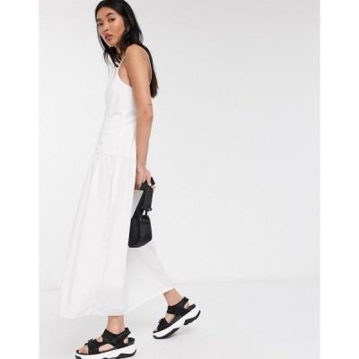 ウィークデイ レディース ワンピース トップス Weekday Jasmine keyhole back poplin midi dress in white White