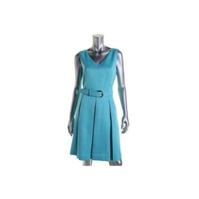 タハリ ドレス ワンピース Tahari ASL 7329 レディース Margie ブルー Embroideレッド Vネック Wear to Work ドレス 14 BHFO
