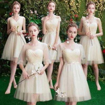 パーティー ドレス ワンピース ブライズメイド ひざ丈 シフォン 透け感 リボン 結婚式 花嫁 二次会 お呼ばれ 韓国 mme6039