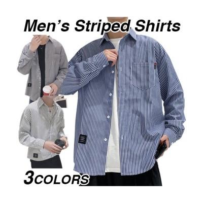 シャツ メンズ 長袖 ストライプ 柄 おしゃれ 長袖シャツ 大きいサイズ トップス インナー 紳士