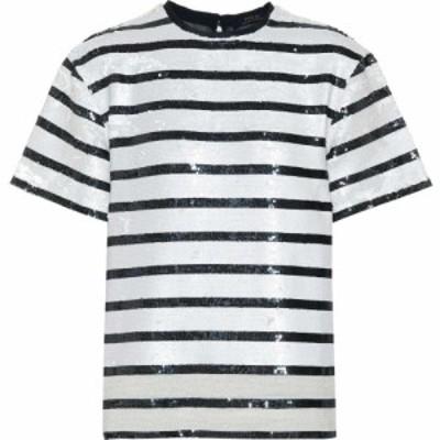 ラルフ ローレン Polo Ralph Lauren レディース Tシャツ トップス Striped sequined T-shirt Navy White