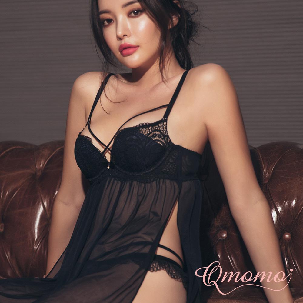 睡衣【Bonne nuit! 親親巴黎】W鋼圈W Plus+爆乳成套性感睡衣 (黑)