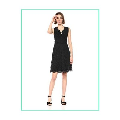 Lark & Ro Women's Sleeveless V-Neck Lace Crossover Detail Dress, Black 12並行輸入品