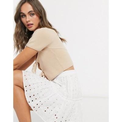 エイソス レディース スカート ボトムス ASOS DESIGN tiered broderie mini skirt in white