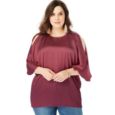 レディース 衣類 トップス Roaman's Women's Plus Size Cold-Shoulder Wide-Sleeve Blouse ブラウス&シャツ