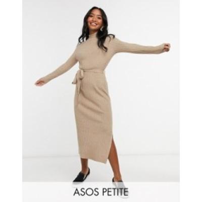エイソス レディース ワンピース トップス ASOS DESIGN Petite tie waist midi dress TAUPE