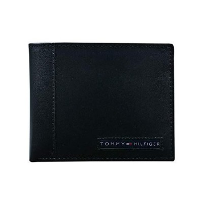 Tommy Hilfiger Men's Leather Wallet ? Slim Bifold with 6 Credit Card Pockets and Removable Id Window, Black Cambridge, One Size【海外