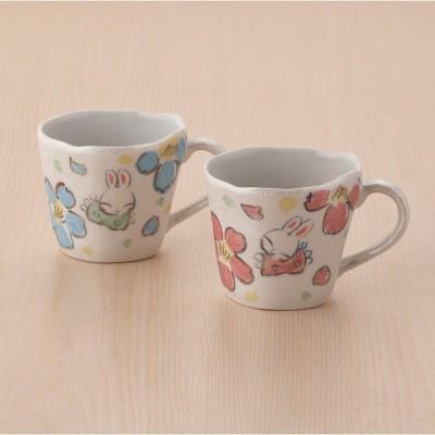 夕立窯 パールうさぎ ペアマグカップ YK609 ギフト包装・のし紙無料 (B5)