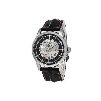 腕時計 ハミルトン Hamilton Railroad ブラック スケルトン ダイヤル ブラック レザー メンズ 腕時計
