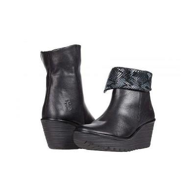 FLY LONDON フライロンドン レディース 女性用 シューズ 靴 ブーツ アンクル ショートブーツ YETY248FLY - Black Mousse/Snake Print