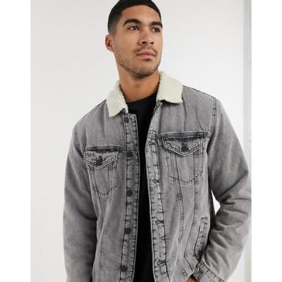 オンリーアンドサンズ メンズ ジャケット・ブルゾン アウター Only & Sons denim jacket with teddy in gray