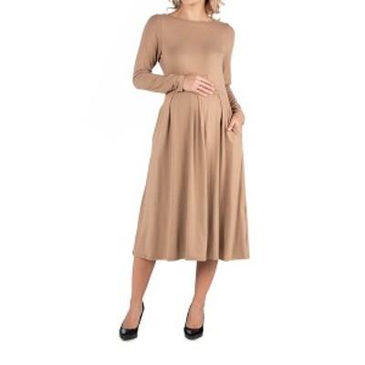 24セブンコンフォート レディース ワンピース トップス Midi Length Fit and Flare Pocket Maternity Dress Wheat