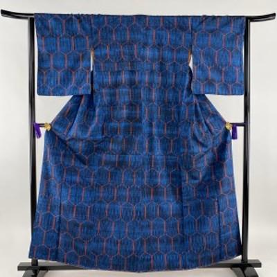 紬 優品 亀甲 藍色 袷 身丈160cm 裄丈63.5cm S 正絹 【中古】