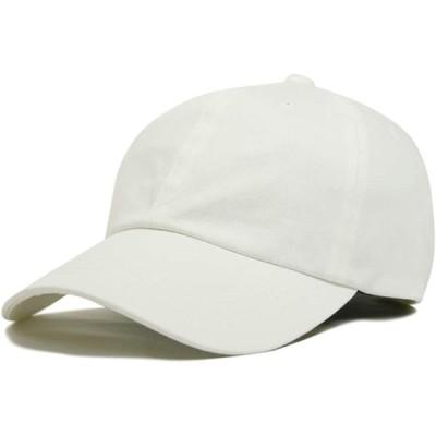 (ジロウズ) JIRROUZ シンプル コットン100% SML ベースボール メンズ キャップ 帽子 大きい 親子で被れる カジュアル帽子(ホワイト