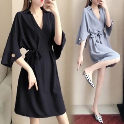 プラスサイズ 夏新作 ドレス ゆったり ウエスト シャツ  Vネック セクシー 半袖 ワンピース ミディ丈 スカート XL 2XL 3XL 4XL 5XL