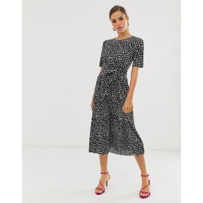 エイソス レディース ワンピース トップス ASOS DESIGN midi tie waist plisse dress in mono spot
